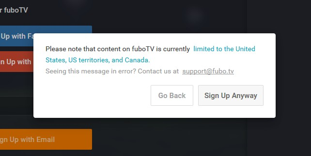 Signing up for Fubo TV abroad